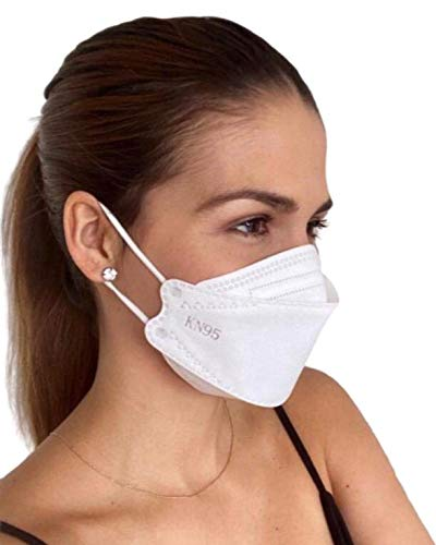 Mediweave KN95 Face mask Willow shaped, 4-ply (White, 5 Pieces)