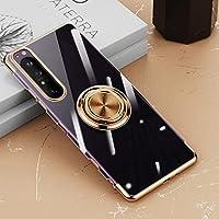 ソニーXperia5 III携帯電話ケースと互換性のある透明保護スリーブリングブラケット,金