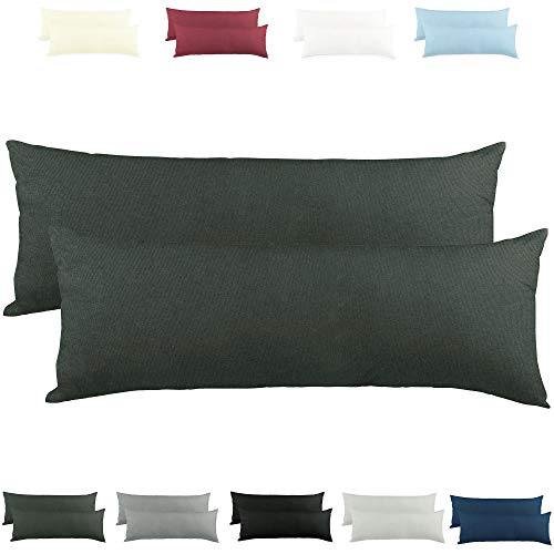 CelinaTex Active Seitenschläferkissen Bezug Doppelpack Set 40x200 anthrazit grau Baumwolle Jersey Stillkissen Kissenhülle 5001568