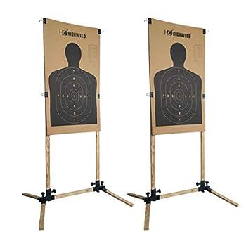 Highwild Adjustable Target Stand Base for Paper Shooting Targets Cardboard Silhouette - USPSA/IPSC - IDPA Practice  2 Set