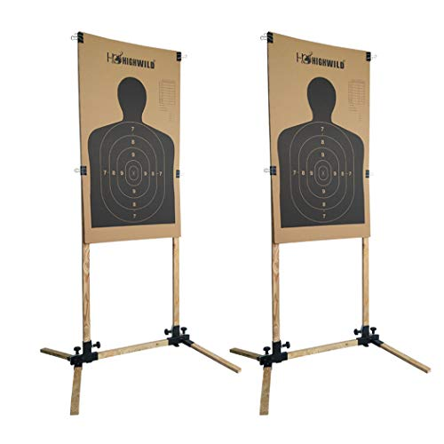 Highwild Adjustable Target Stand Base for Paper Shooting Targets Cardboard Silhouette - USPSA/IPSC - IDPA Practice (2 Set)