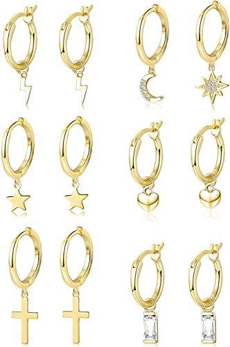 Adramata 6Paia Set di Orecchini Pendenti a Cerchio per Uomo Donna Cuore Cristallo Star Moon Heart Asimmetrico Orecchini Pendenti Huggie Drop Acciaio Inossidabile Orecchini Fashion Jewerly