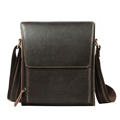 Leathario Herren Leder umhängetasche messger Bag Ledertasche für Business Retro (braun1)
