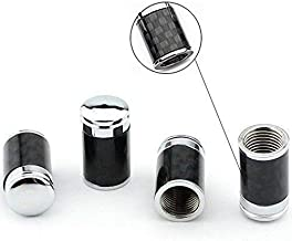 AeroDesigns Carbon Fiber Valve Stem Cap Cover -Hot Ride- Chrome Carbon Black Steel Pressure Valve Stems Caps Universal Fits ALL Cars Trucks SUV Bike & Bicycle ( Fit All Factory / OEM / Racing Wheels )