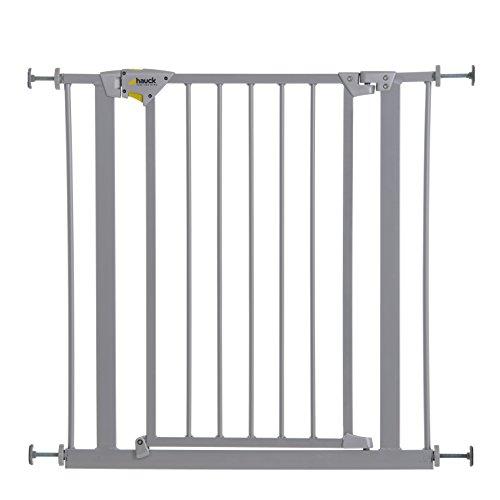 Hauck Trigger Lock/Schutzgitter, für Kinder,für Hunde und Katzen, 75-81 cm, Befestigung ohne Bohren, zum Klemmen, mit Tür, beidseitig schwenkbar, verstellbar und erweiterbar bis 109 cm, grau (silber)