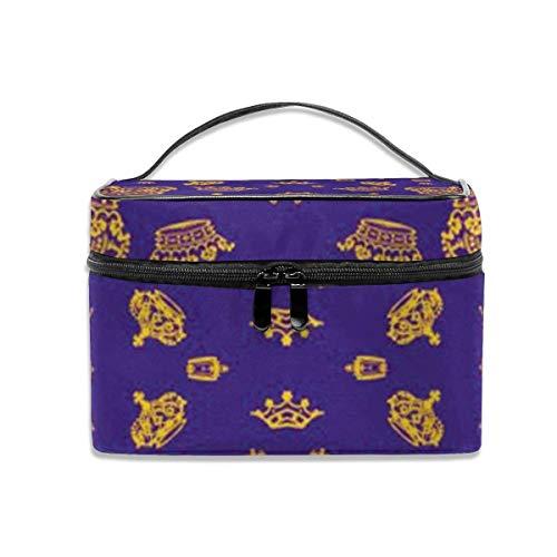 Royal Crowns - Or sur Violet Voyage cosmétique Organisateur Sac de Rangement pour Artiste Portable avec, Poche intégrée, Trousse de Toilette Multifonction pour Les Femmes