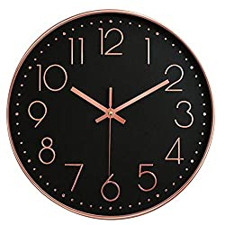 12 Inch Modern Wall Clock Silent Non Ticking Easy to Read Decorative Wall Clocks for Living Room Decor Home Office Kitchen (Black Rose)