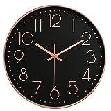 Hoston Reloj de Pared Moderno,Grandes Silencioso Interior Reloj de Cuarzo Redondo sin tictac Decorativos Reloj Pared para Sala Cocina, Dormitorio, Oficina. (Oro Rosa Negro.)