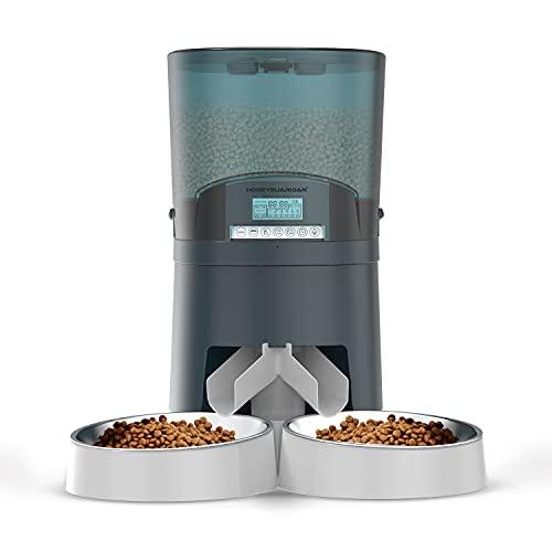 HoneyGuaridan Distributore Cibo per Gatti 7L con separatore bidirezionale, distributore Automatico Cibo Animali con Due Ciotole d'Acciaio, registratore vocale, Fino a 6 pasti – Doppia Alimentazione