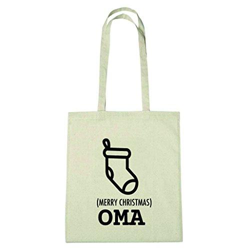 JOllify Baumwolltasche Geschenk für OMA Weihnachten - natur: Socke Strumpf