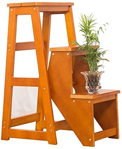 Taburete de madera para el hogar, cocina, escalera plegable de doble uso, silla, 3 pasos, escalera plegable, taburete, escaleras, sillas, taburete de madera maciza, para oficina, cocina, uso en el ho