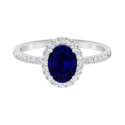 Anillo de zafiro azul ovalado de 8 x 6 mm, D-VSSI Moissanite Halo, anillo solitario con piedras laterales, anillo de oro vintage (calidad AAA), 14K Oro blanco, zafiro azul, Size:EU 60