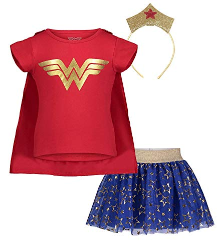 (953165WNT) Wonder Woman Toddler Girls' Updated Costume Dress with Gold Tiara Headband and Cape, Red in Red, 2T
