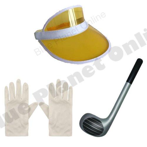 Blue Planet Online Pub Golf Golfing Visor Gorra, Club inflable y guantes de despedida de soltera (amarillo)
