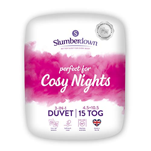 Slumberdown Cosy Nights King Size Duvet 4.5 Tog Plus King Size Duvet 10.5 Tog 3 in 1 Combination 15 Tog All Seasons Duvet King Size