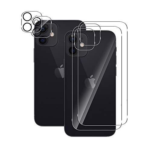 Aerku Vetro Temperato Retro + Fotocamera Posteriore Pellicola Vetro Temperato per iPhone 12 5G 6.1', [2 Pezzi + 2 Pezzi] HD Anti Graffi Pellicola Protettiva Posteriore