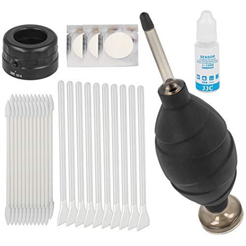 Impulsfoto JJC Kamera Sensor Reinigungs Kit für APS-C/DX - 10 x 16mm Swabs Vakuum verpackt + Sensorlupe + Starker Blasebalg mit Staubfilter + 24x Reinigungsstäbchen + 15ml Reinigungsflüssigkeit