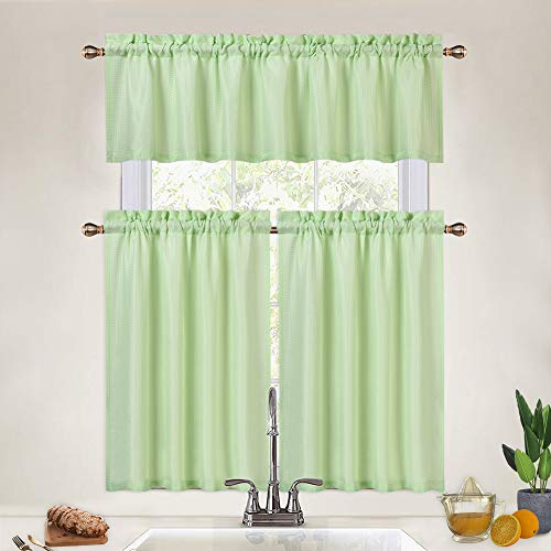 CAROMIO Half Window Curtains for Kitchen, Water Repellent Waffle Weave Tier Curtains and Valance Set for Bathroom Cafe Curtains Rod Pocket, Seafoam Green
