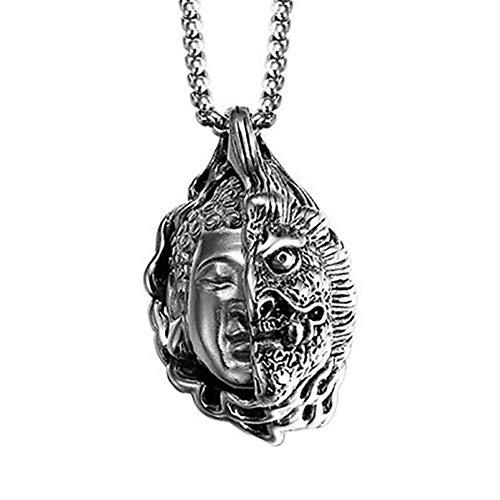 AdorabFruit Présent Pendentif Diablo Buda Punk Collar Hombres Niños Hiphop Roca Eslabón De La Cadena Collar De Collar Macho Regalo De Los Hombres Pendiente De Los Accesorios (Metal Color : Silver)