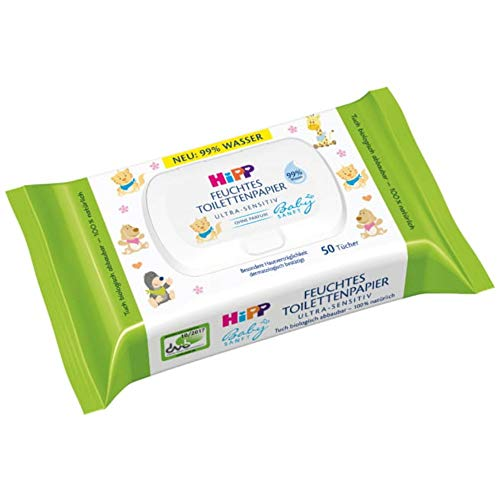 HiPP Babysanft feuchtes Kinder Toilettenpapier, 6er Pack (6 x 50 Stück)