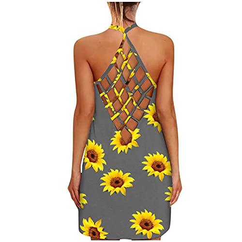 BOOMJIU Vestido Mujer de Verano sin Mangas Espalda Abierta Playeros Estampado de Girasol Camisola Vestido Hueco Floral Falda