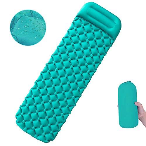 Athyior Opblaasbare campingmat - Opvouwbare slaapmat met kussen Lichtgewicht Comfortabele slaapzak Pad voor eenpersoons buiten wandelen Tuintent