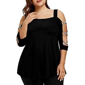 haoricu Bat Blouse Clearance!Women Solid Off Shoulder 3/4 Sleeve Plus Size Loose Bling T Shirt Tunic Tops  XXXXXL A-Black