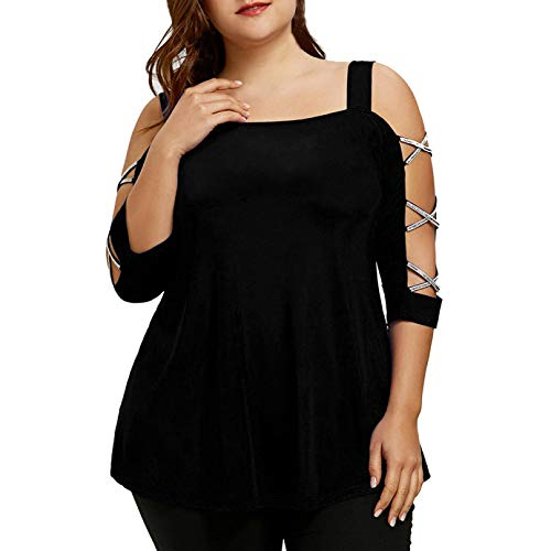 haoricu Bat Blouse, Clearance!Women Solid Off Shoulder 3/4 Sleeve Plus Size Loose Bling T Shirt Tunic Tops (XXXL, A-Black)