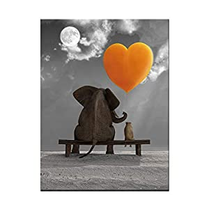 BIL-YOPIN Canvas Wall Art Animal Resting Elephant Look at the Moon and Sea Painting 12x16inch Framed Canvas Pictures Prints Wall Decor on Canvas Stretched Artwork Ready to Hang for Living Room Bedroom