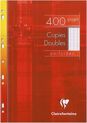 Clairefontaine, 4791C Etui de 400 pages refermable de Copies doubles grand carreaux perforation universelle papier ultra blanc 90g veloute