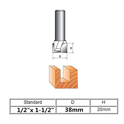 Ranbo 1/2 Inch Shank 1-1/2 Inch Cutting Dia Double Flute Carbide Tipped Bottom Cleaning Surface Planing Spoilboard Straight Router Bit For Stair Treads, Wood Cutters