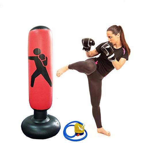 Himifuture 160cm Punch Bag, Opblaasbare Free-Standing Fitness Target Stand Tower Bag, Gratis Staande Tumbler Column Sandbag met een Gratis Voet Air Pomp, Wijn Rood