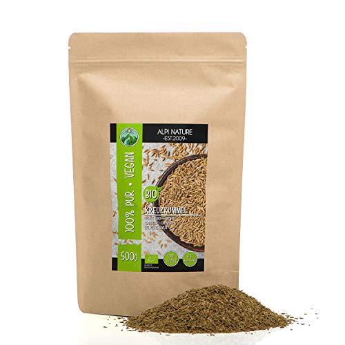 Cumino biologico intero (500g), semi di cumino crudo da coltivazione biologica certificata, semi di cumino vegani senza glutine, senza lattosio, testati in laboratorio