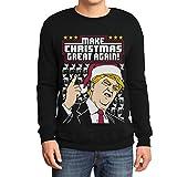 Hässlicher Weihnachtspullover Trump Make Christmas Great Again Herren Sweatshirt Large Schwarz