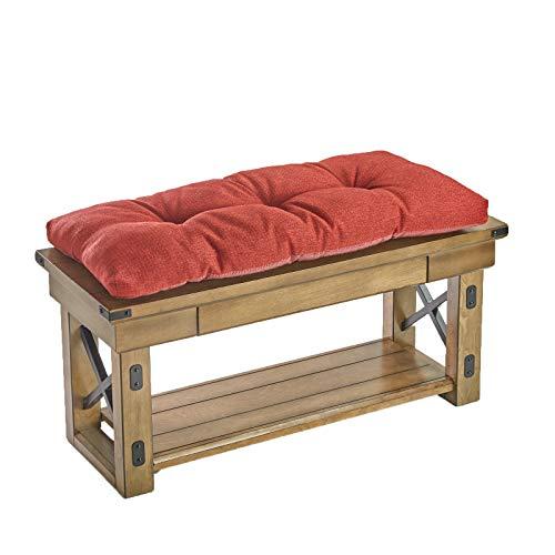 Klear Vu The Gripper Non-Slip Tufted Omega Universal Bench Cushion, Flame, 36'