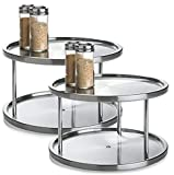 2 Tier 2 PK Lazy Susan - Stainless Steel 360 Degree Turntable – Rotating 2 Level Tabletop Stand for Your Dining Table, Kitchen Counters and Cabinets – Turning Table Spice Rack Organizer Tray - 2 Pack