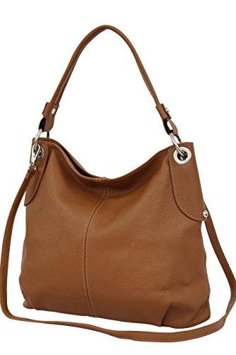 AMBRA Moda Damen echt Ledertasche Handtasche Schultertasche Beutel Shopper Umhängtasche GL012 (Cognac)