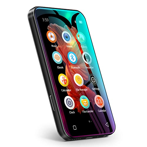 TIMMKOO MP3-Player mit Bluetooth, 4,0' Full Touchscreen MP4 MP3-Player mit Lautsprecher, 8GB Tragbarer HiFi-Sound MP3-Player, Diktiergerät, E-Book Schwarz