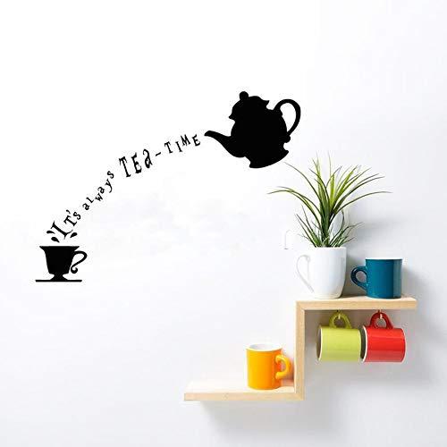 Film personnage de bande dessinée sticker mural anime vinyle autocollant décalque toujours l'heure du thé langue lettrage décoration murale cuisine langue enfants chambre de bébé cadeau 57X79 cm