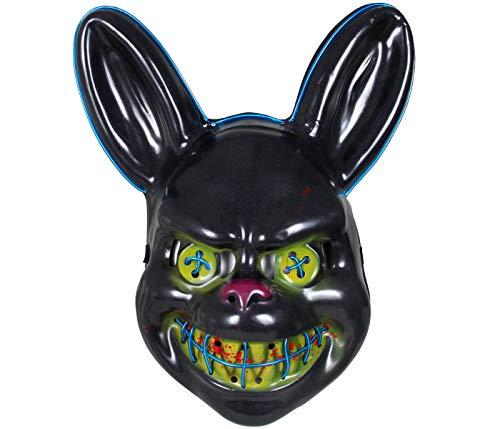 Masque American Nightmare avec LED Bleu The Purge Lapin Horreur pour Déguisement Costume Halloween Carnaval Adultes Ados Homme Femme