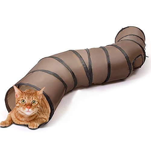 猫 おもちゃ 猫トンネル キャットトイ ネコ用品 水洗い可能 折りたたみ式 収納便利 S型 2穴付きキャットトンネル 長いネコトンネル 猫遊び ストレス発散 運動不足 対策 ペット玩具 ペット用品 (ブラウン)