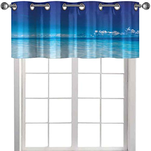 """Valance Curtains Ocean Scenery Deep Sea Beach Hot Summer Themed Photo 42"""" W x 18"""" L valances for Living Room Turquoise Pale Blue and Dark Blue"""