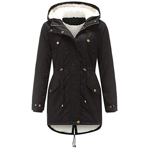 Derrick Aled(k) zhuke Fall/Winter Women's Cotton-Padded Jacket Solid Color Hooded Drawstring Waist Thickened Plus Velvet Jacket Black