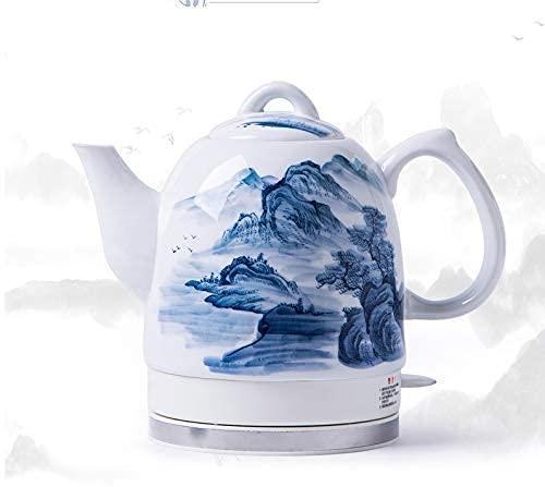 XBR Tetera eléctrica Blanca inalámbrica de cerámica, Jarra Retro de 1,5 l, 1350 w hierve Agua rápidamente para té, café, Sopa, Avena, Base extraíble, protección para hervir en seco, C (Color: A)