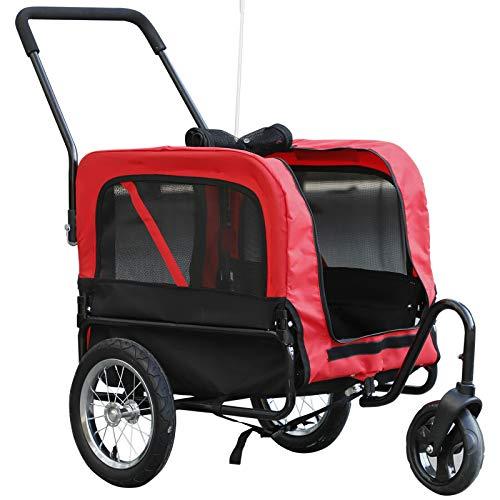 Alek...Shop Multi-Function 2 in 1 Pet Trailer Bike Carrier 3 Wheel, Travel Stroller Jogging w/Canopy Rainproof Transparent Cover Basket Storage, Jogger Bicycle
