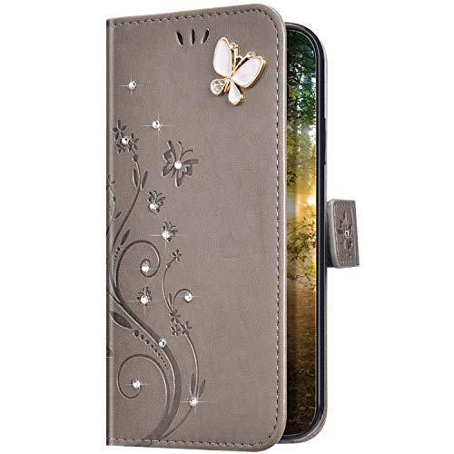 Uposao Kompatibel mit iPhone 11 Hülle Glitzer Bling Strass Diamant Schmetterling Handyhülle Brieftasche Schutzhülle Leder Tasche Wallet Flip Case Cover Klapphülle Kartenfach,Grau