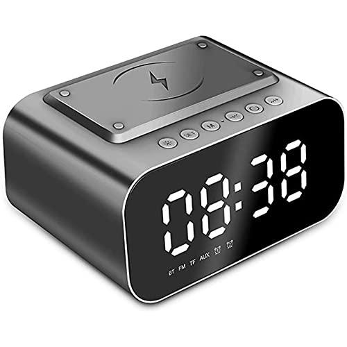 HCCTOZZ Reloj Despertador Digital con Estación Carga Inalámbrica, Pantalla LED 3 Brillos Reloj Despertador Digital con Cargador Inalámbrico Compatible con iPhone, Samsung Galaxy y Airpod(Color:Black)