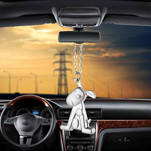 FJKWLC Car Rear View Mirror Pendant Car Pendant Ornaments Cute Dog Fashion Charms Rearview Mirror Decoration Hanging Auto Decor Cars Accessories Car-Styling Gifts