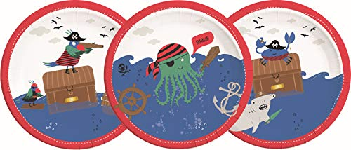 Procos 90243 - Platos de cartón para fiestas (8 unidades), diseño de piratas, color rojo, blanco y azul , color/modelo surtido