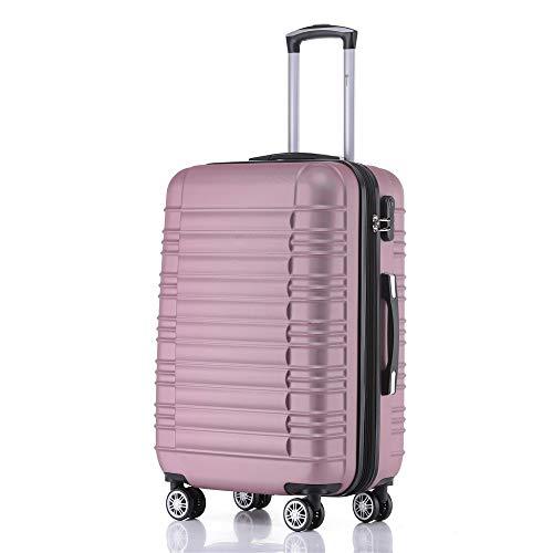 Handgepäck Koffer Hartschalen Trolley Rollkoffer Reisekoffer Mit Schloss Und 4 Rollen Leichtgewicht ABS Koffer Hartschale Für Reisen - Pink- M(2088)